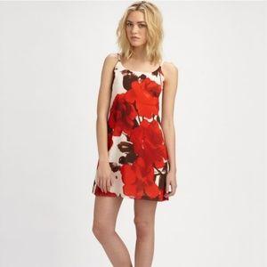 Alice & Olivia Red Floral Adjustable Slip Dress